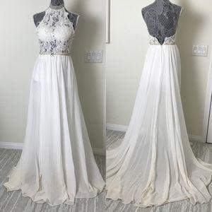 White Chiffon Lace Long Engagement Dress